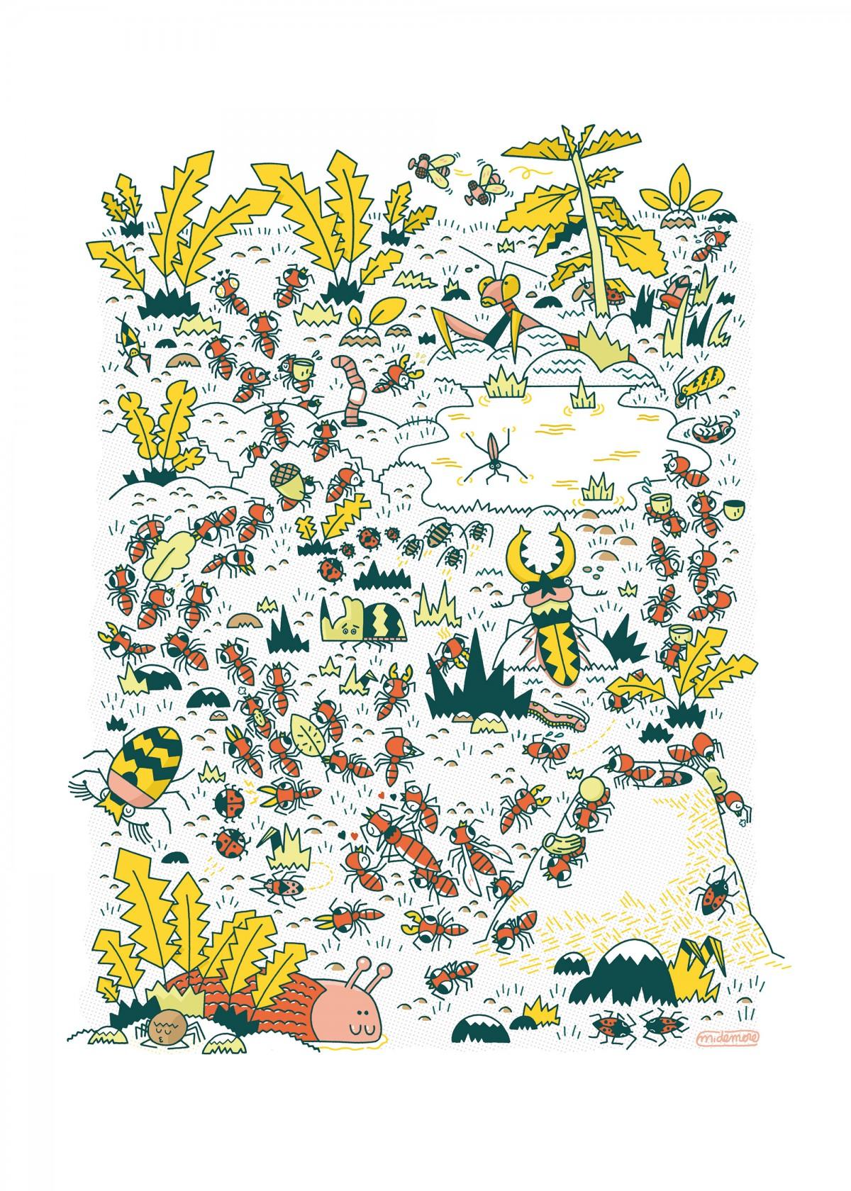 Mathieu Demore, Illustration jeunesse et Bande-dessinée Affiche fourmis