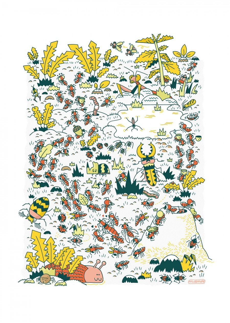Mathieu Demore, Illustration jeunesse et Bande-dessinée Affiche fourmis Affiche sur le thème des fourmis - Travail personnel - Mathieu Demore