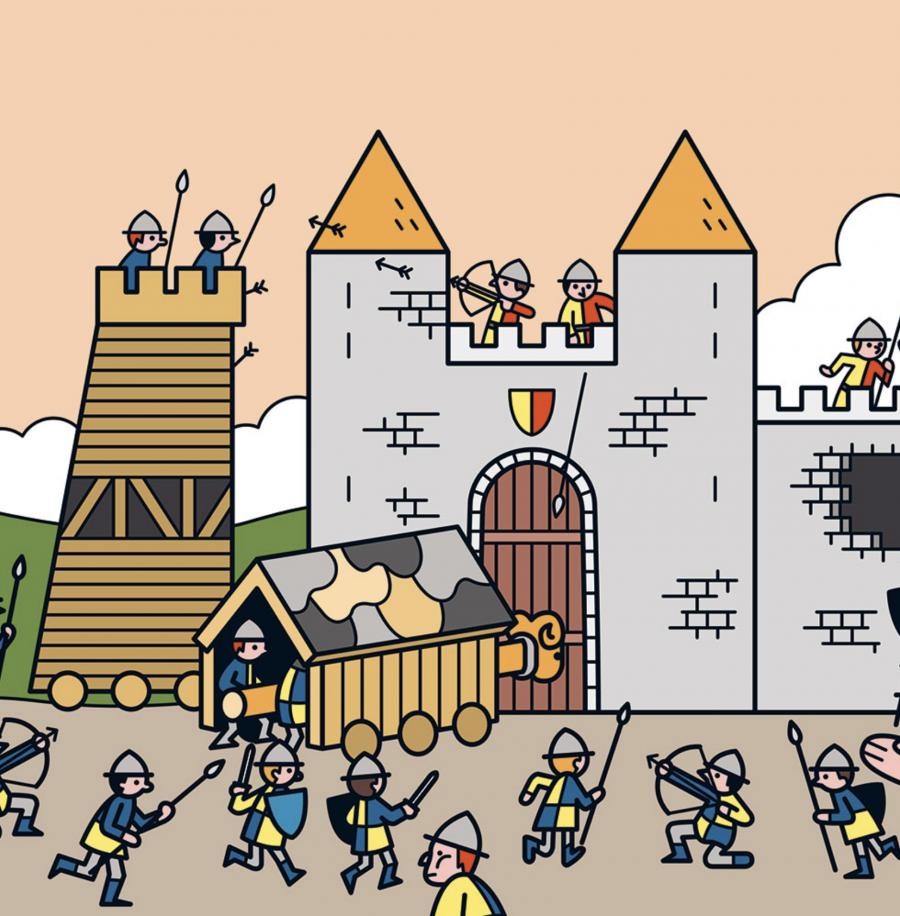 Mathieu Demore, Illustration jeunesse et Bande-dessinée Chateaux forts La vie aux temps des châteaux forts. Livre à colorier aux éditions Milan - Mathieu Demore